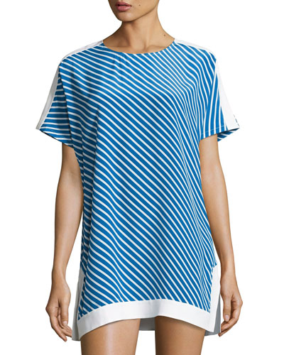Colorblocked Striped Tunic, Regatta Stripe