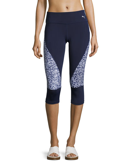 Puma Culture Surf 3/4 Tights Leggings, Blue Pattern