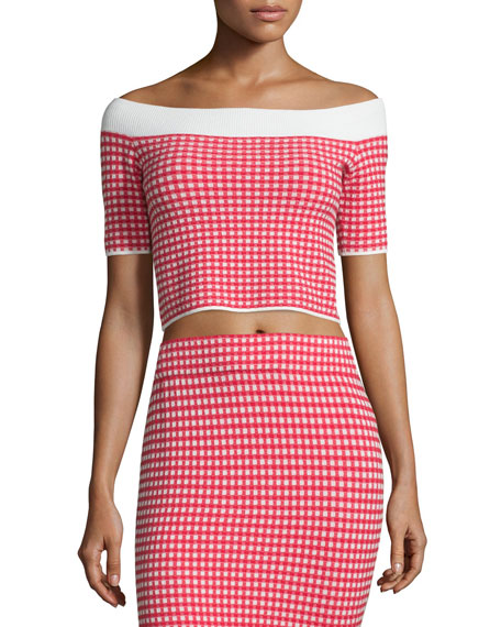 Gingham Stretch Off-the-Shoulder Crop Top, Red/White