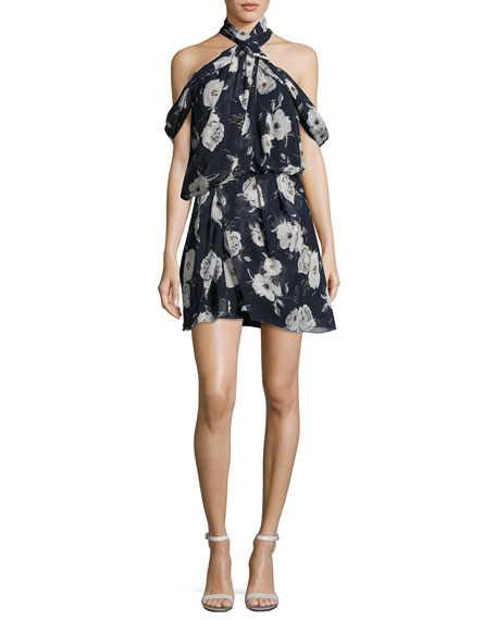 Lou Lou Floral Draped Cold-Shoulder Cocktail Dress, Blue