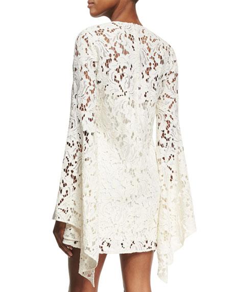 Farrow Bell-Sleeve Lace Cocktail Dress, Beige
