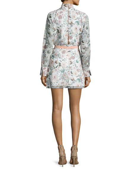 Evie Long-Sleeve Floral Chiffon Cocktail Dress, Multicolor