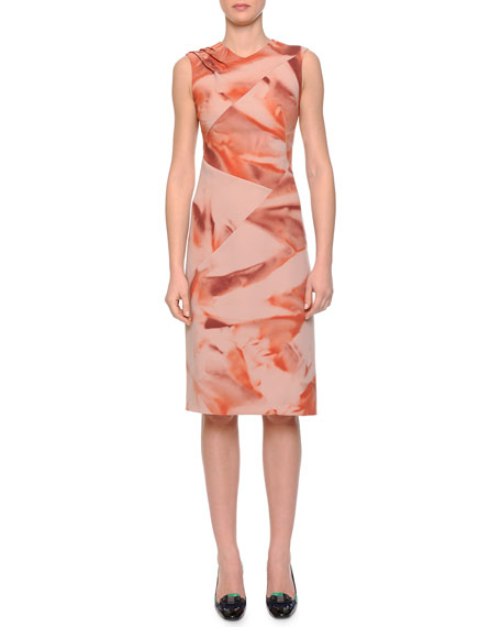 Bottega Veneta Arizona Printed Pintucked Dress