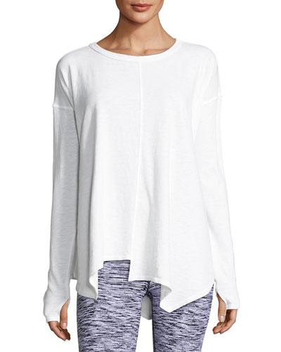 Renew Asymmetric Athletic Cotton Top, White