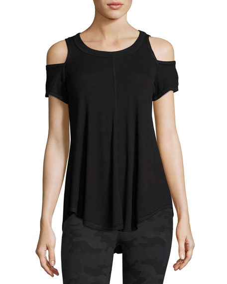 Serenity Cold-Shoulder Rib-Knit Tee, Black