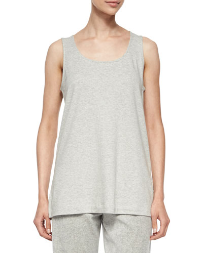 Scoop-Neck Cotton Interlock Tunic/Tank, Gray Heather, Plus Size
