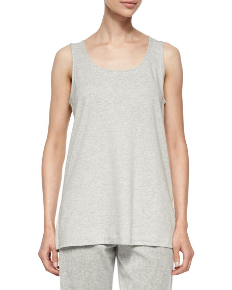 Joan Vass Scoop-Neck Cotton Interlock Tunic/Tank, Gray Heather,