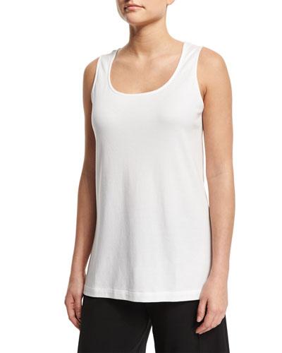 Scoop-Neck Cotton Interlock Tunic/Tank, White