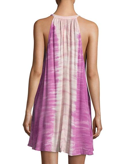 Natasha Sleeveless Tie-Dye Mini Dress, Pink Pattern