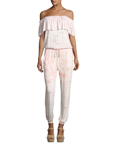 Chels Off-the-Shoulder Jumpsuit, Pink Pattern