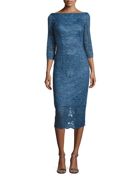 3/4-Sleeve Embellished Floral Cocktail Dress, Medium Blue