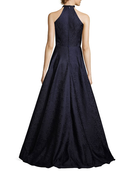 Sleeveless Satin Jacquard Ball Gown, Navy