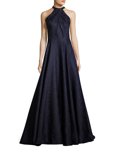 Sleeveless Satin Jacquard Ball Gown, Navy