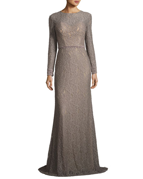 Long-Sleeve Floral Jacquard Gown, Silver