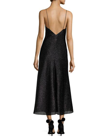 Fresia Sleeveless Metallic Cocktail Dress, Black