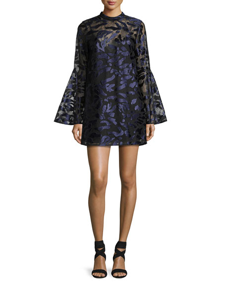 CAMILLA AND MARC Coco Bell-Sleeve Metallic Cocktail Dress,
