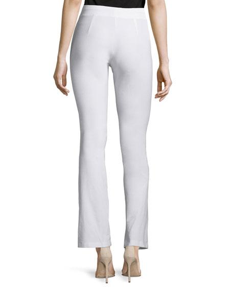 Washable Crepe Slim Boot-Cut Pants, White, Plus Size