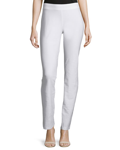 Washable Crepe Slim Boot-Cut Pants, White, Plus Size