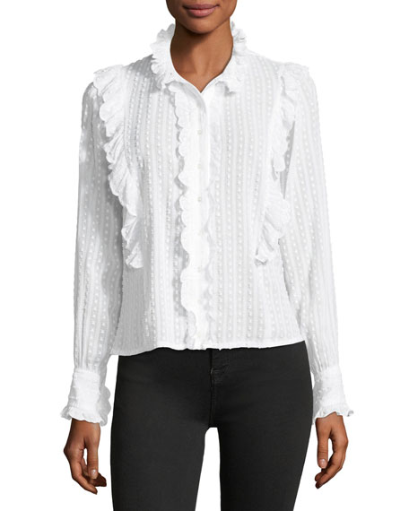 Etoile Isabel Marant Yann Textured Cotton Voile Top