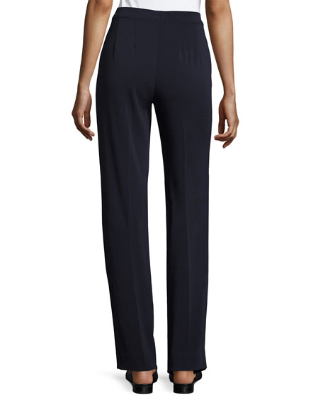 Diana Cady Stretch Straight-Leg Pants, Navy