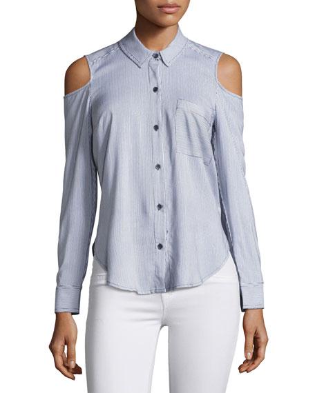Boardwalk Mixed Stripe Cold-Shoulder Shirt, Navy