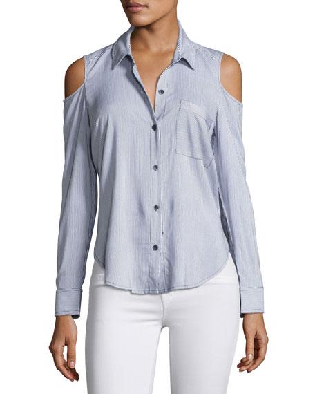 Splendid Boardwalk Mixed Stripe Cold-Shoulder Shirt, Navy