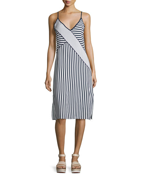 Boardwalk Stripe Sleeveless Midi Dress, Navy