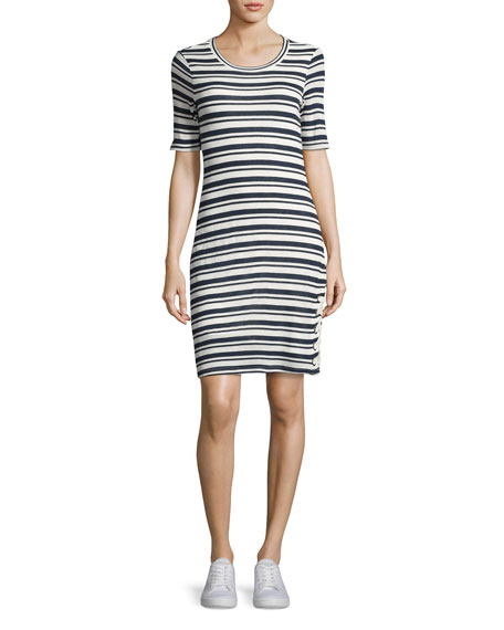 Splendid Topsail Stripe Bodycon Dress, White/Blue