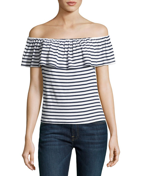 Venice Striped Off-the-Shoulder Top, White