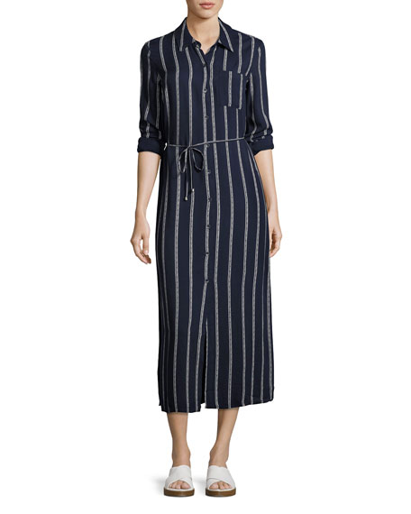 Splendid Rope Print Maxi Dress, Navy/Off-White