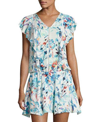 Lana Drop-Waist Dress, White Pattern