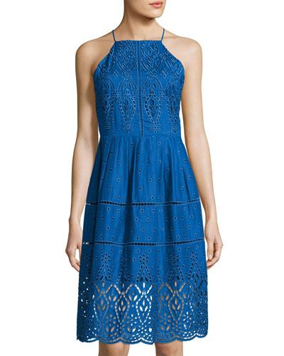 Alana Eyelet Cotton Dress, Blue