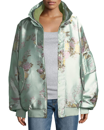 Reversible Floral-Print Oversized Satin Bomber Jacket