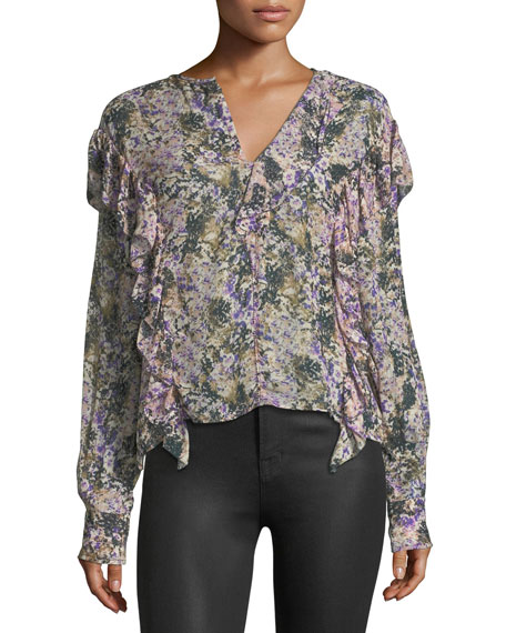 Etoile Isabel Marant Jelby Split-Neck Cotton Blouse
