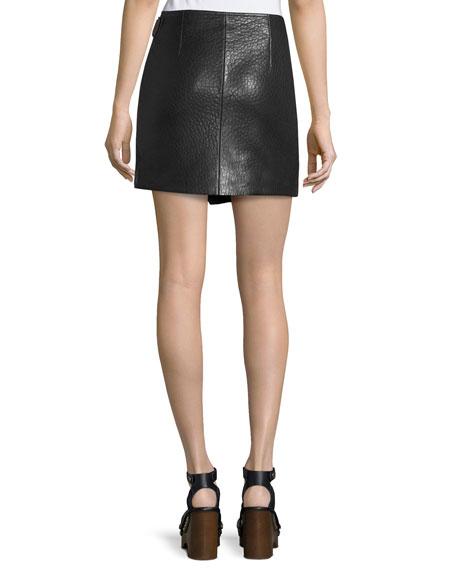 Kakili Leather Wrap-Front Mini Skirt, Black