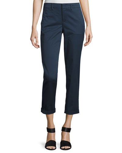 Boyfriend Cropped Twill Trouser, Blue