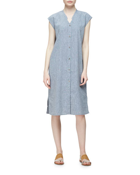 Eileen Fisher Linen-Blend Cap-Sleeve Calf-Length Dress, Plus Size