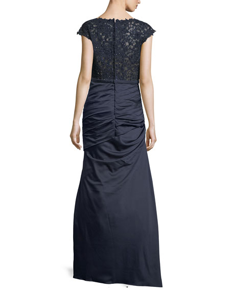 Cap-Sleeve Lace & Satin Mermaid Dress