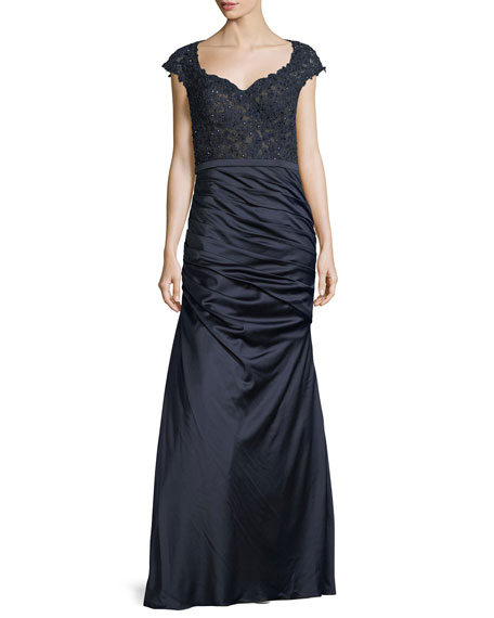 La Femme Cap-Sleeve Lace & Satin Mermaid Dress