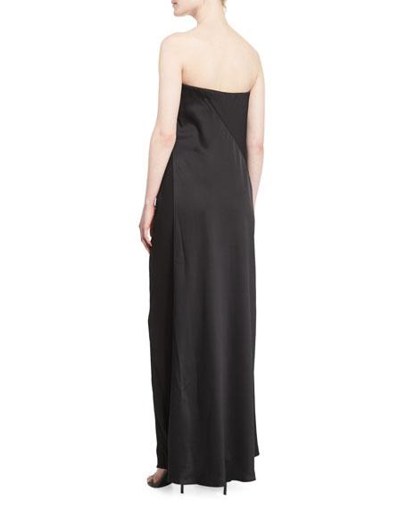 Strapless Matte & Shine Jumpsuit, Black