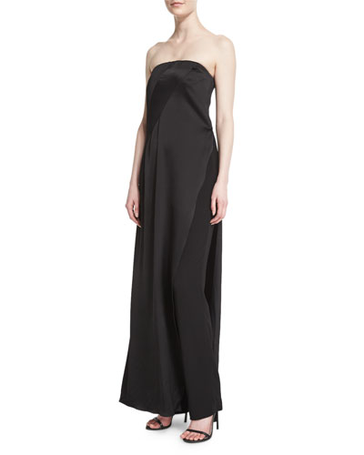 Strapless Matte & Shine Jumpsuit, Black