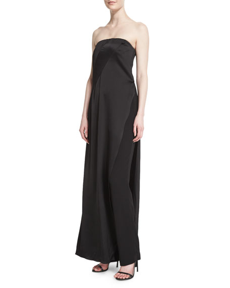 Donna Karan Strapless Matte & Shine Jumpsuit, Black