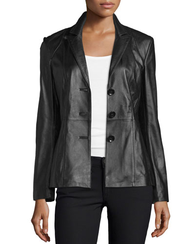 Basic Solid Leather Blazer