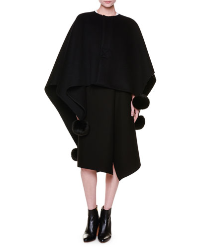 Pompom-Trim Asymmetric Cape