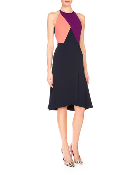 Roland Mouret Kenard Colorblock Fit-&-Flare Dress