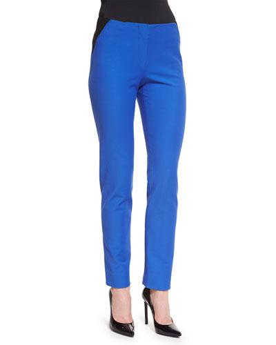 Two-Tone High-Waist Skinny Pants, Light Blue