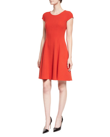 Armani Collezioni Cap-Sleeve Fit-&-Flare Dress, Red