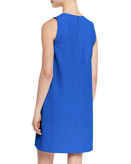 Sleeveless Scoop-Neck Shift Dress, Blue