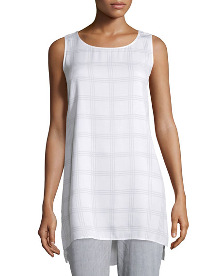 Eileen Fisher Sleeveless Plaid Silk Tunic, Ash, Petite