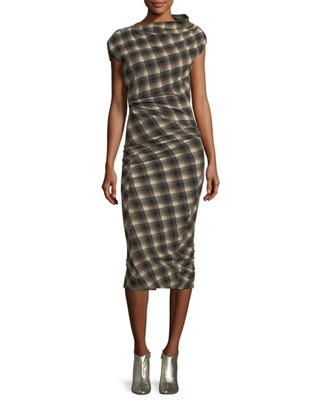 Pisa Ruched Plaid Midi Dress by Etoile Isabel Marant